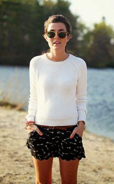 Sweater: Brooks Brothers (similar) Shorts: Anthropologie Belt: J.Crew Bracelets:Kiel James Patrick Arrow, Anchor Glasses: Madewell