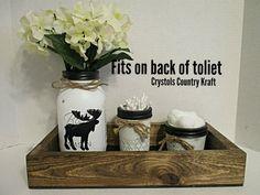 Bathroom storage box for back of toliet plus vase, Q-tip & Cottonball jar, Moose decor, moose bathroom , woodland decor Boys Bathroom Decor, Bathroom Jars, Bathroom Ideas, Nursery Decor, Bathroom Storage Boxes, Jar Storage, Storage Containers, Mason Jar Art, Distressed Decor