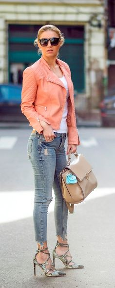 Coral leather jacket outfit