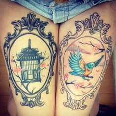 Bird tattoos are very popular as it shows freedom of life. Birds tattoo designs are delicate and very attractive and brings a beauty, love and elegance. Cage Tattoos, Sexy Tattoos, Sleeve Tattoos, Tattoos For Women, Thigh Tattoos, Tattoo Infinito, Infinite Tattoo, Framed Tattoo, Tattoo Bird