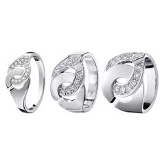 Menottes dinh van rings white gold and diamonds (sizes :R8, R12, R16) #dinhvan #paris #jewels #jewelry #ring #gold #diamonds