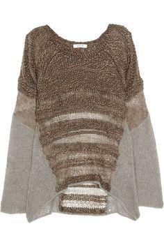 Helmut Lang|Knitted silk and alpaca-blend sweater|NET-A-PORTER.COM