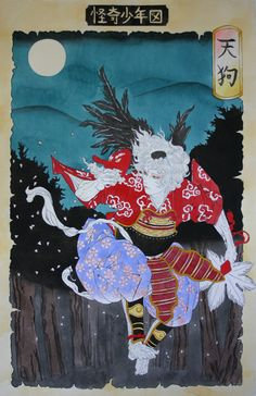 """A Japanese Tengu (""""heavenly dog""""). Buddhism long held that the tengu were disruptive demons and harbingers of war. Their image gradually softened, however, into one of protective, if still dangerous, spirits of the mountains and forests. Tengu are associated with the ascetic practice known as Shugendō, and they are usually depicted in the distinctive garb of its followers, the yamabushi. - wiki"""