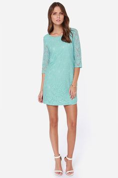 Bella Notte Mint Blue Lace Dress at LuLus.com!