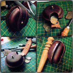 Leather coin purse - Монетница из кожи растительного дубления, краска Fiebings, нитки Dafna