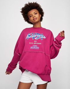 Sporty sweatshirt with graphic - Sweatshirts - Clothing - Woman - PULL&BEAR United Kingdom