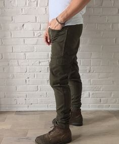 Hand Tailored Skinny Stacked Olive Patch Cargo Pants by CRUXUNITED