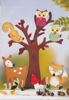 Fensterbild EULEN IM BAUM Tiere Eule Holz beidseitig coloriert