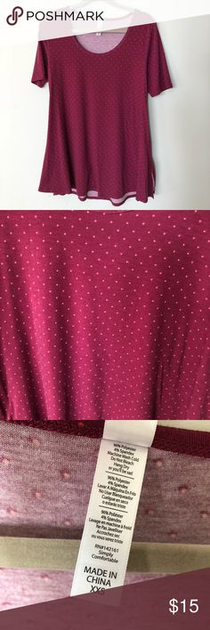 Lularoe Perfect T Size XXS. Sizes do run big. This will fit 0-6. The color is like a magenta red or pinkish red with orange/coral colored polkadots. New and never worn! LuLaRoe Tops Tunics