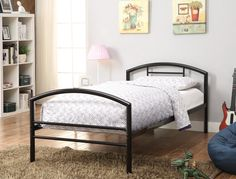 "Baines  Metal Youth Bed  In Black  2"" Metal Tube  No Foundation Required   $149.00   42.25""W x 78.25""D x 32.25""H   CTC BED400157T Black"