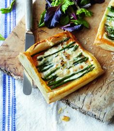 This simple and tasty asparagus tart recipe uses shop bought puff pastry and delicious taleggio cheese.