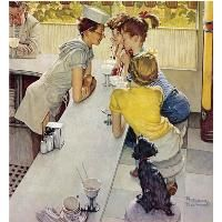 "Normand Rockwell-The Soda Fountain or Soda Jerk. Reminds me of the drugstore scene  in ""It's a Wonderful Life"" George Bailey, I'll love you till the day I die."