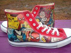 LOVE LOVE LOVE LOVE //  Marvel High Top Men's Converse - Red - Marvel - Daredevil, Hulk, Iron Man, Captain America, Spiderman, Wolverine, Gambit, Rogue. $150.00, via Etsy.