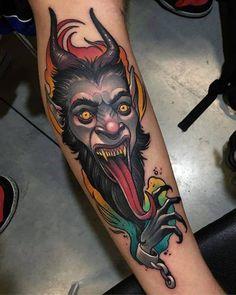Diablo de estilo neotradicional en el gemelo. Tattoo Artist: Debora Cherrys