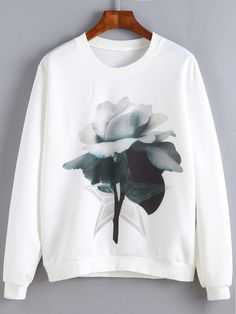 White Floral Print Sweatshirt Casual Long Sleeve Pullovers Women Autumn Basic Tops Fashion O Neck Brief Sweatshirt Sweatshirts Online, Printed Sweatshirts, Hoodies, Girls Fashion Clothes, Fashion Outfits, Fashion Styles, Fast Fashion, Fashion Fashion, Fashion Ideas