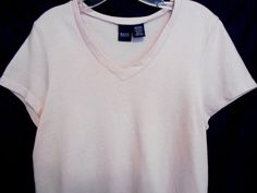 Basic Editions Pale Pink with crisscross ribbing Size Med. V Neck Cotton Blend #BasicEditions #KnitTop #Career