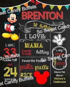 Mickey Mouse Personalized Chalk Board Sign  by SoSweetCandyBuffets