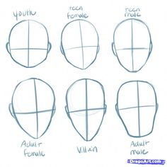 Anime Head Shapes, Drawing Face Shapes, Drawing Heads, Manga Drawing, Drawing Art, Art Drawings Sketches Simple, Pencil Art Drawings, Cool Drawings, Body Drawing Tutorial