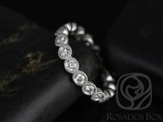 Medium Bubbles 14kt White Gold Round Bezel WITH Milgrain Beading Diamonds FULL Eternity Band (Other metal and stone options available)