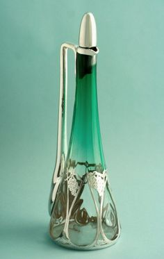 Silver Overlay Art Nouveau Decanter -  Marks for the LaPierrre Silver Workshop of New York and Newark, NJ circa 1900