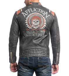 DETAILS • Affliction Genuine Leather Jacket • Self Applique With Embroidery • Perforated Detail • Vintage Wash CONTENT AND CARE • 100% Genuine Cow Leather • Dry Clean Only • Imported MODEL • Height =
