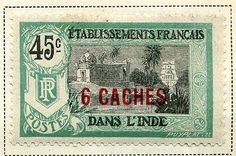 FRENCH INDIA 1923 early surcharge issue
