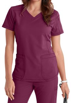 Dickies Dynamix Collection Wine Curved Hemline Princess Top Size XS-XXL NWT  #DickiesDynamixCollection Dental Scrubs, Medical Scrubs, Housekeeping Uniform, Sewing Paterns, Cute Scrubs, Scrubs Outfit, Phlebotomy, Wine Collection, Kimono Fashion