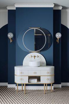Le style Art déco apporte classe et originalité à la salle de bains. Découvrez nos 5 conseils pour adopter le style Art Déco dans votre salle de bains. White Vanity Unit, Black Vanity, Vanity Units, Devon Devon, Countertop Basin, Warm Grey, Scottie, Marble Top, The Unit