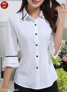 Spring Summer Polyester Women Turn Down Collar Single Breasted Contrast Piping Plain Half Sleeve Blouses Fashion girls, party dresses long dress for short Women, casual summer outfit ideas, party dresses Fashion Trends, Latest Fashion # Blouse Patterns, Blouse Designs, Clothes Patterns, Sewing Patterns, Shirt Patterns For Women, Bluse Outfit, Cheap Womens Tops, Fashion Models, Fashion Outfits