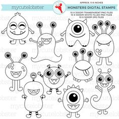 Monsters Digital Stamps cute outlines por mycutelobsterdesigns