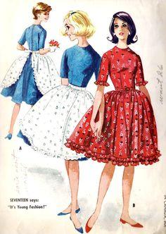 1960s Full Skirt Dress and Apron