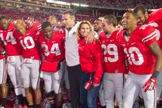 Urban and Shelley Meyer, singing Carmen Ohio with the football team after going 10-0 on 11/3/12.