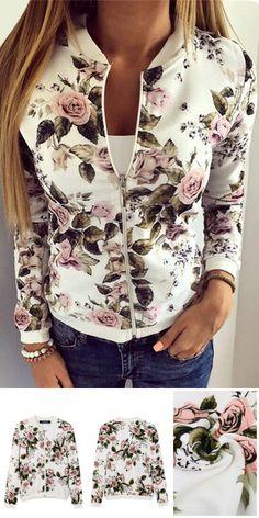 Fashion Baseball Collar Jacket In Random Floral Print