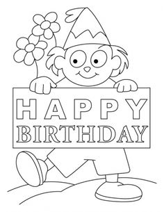 Huge Happy Birthday Card Coloring Pages