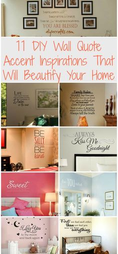 11 DIY Wall Quote Accent Inspirations That Will Beautify Your Home - these could be done with uppercase living - i Diy Wand, My New Room, My Room, Sweet Home, Bedroom Decor, Wall Decor, Wall Art, Deco Originale, Ideias Diy