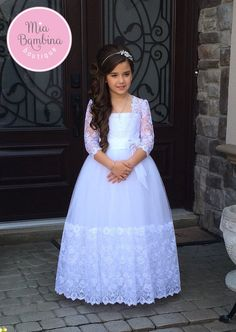 Carina - First Communion Dress with Lace Hem and Long Lace Sleeves