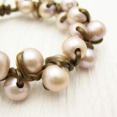 Pink Pearl & Bronze Metallic Leather Bracelet