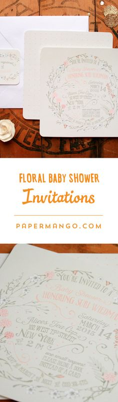 Vintage flowers and typography is a match made in heaven for these chic square baby shower invitations. $1.49+ from Paper Mango #unique # baby #shower #invitations #floral #girl