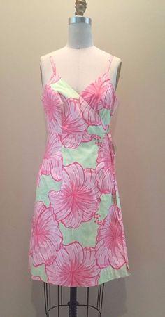 Lilly Pulitzer Wrap Dress Limeade Pink Green Jungle Hawaiian 6 | eBay