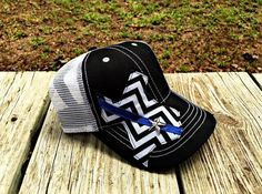 Thin Blue Line ladies baseball cap. I love Texas. Police wife. Police life. by AydensAttic