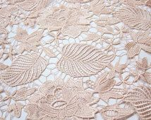 pink lace fbric, crocheted lace fabric, venise lace fabric, vintage lace fabric with floral and leaves, on sale