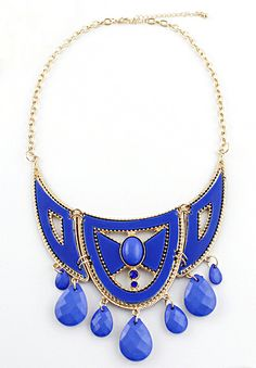 Blue Drop Gemstone Tassel Gold Collar Necklace - Sheinside.com