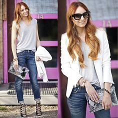 Trouve White Blazer, Rag & Bone Boyfriend Jeans - White Blazer  - Jackie Welling