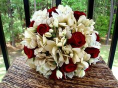 red silver wedding centerpiece | Ivory Red Aisle Markers Bouquet Boutonniere Centerpiece Centerpieces ...