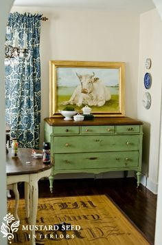 love this colour in the new milk paint line....lucketts green and miss mustard seeds overall styling is awesome