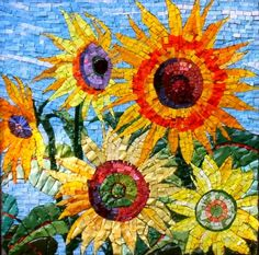 Sunflowers. Pam  Stratton Mosaics