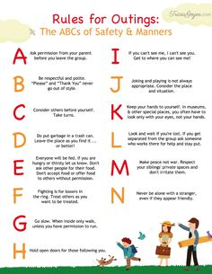 Rules for Outings: The ABCs of Safety and Manners {+ FREE printable} - Tricia Goyer : Great advice for helping your kids stay safe and act politely as you explore the world together! Safety Rules For Kids, Child Safety, Parenting Advice, Kids And Parenting, Peaceful Parenting, Manners For Kids, Etiquette And Manners, Wellness, Raising Kids