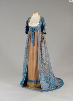 "This one is seen in a great many places as 'Regency gown with open robe of warp printed silk. Late or early In actuality, it's a costume from the film ""Immortal Beloved 1800s Fashion, 19th Century Fashion, Vintage Fashion, Gothic Fashion, 18th Century, Historical Costume, Historical Clothing, Historical Dress, Vintage Gowns"