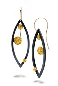 dot marquise earrings by Patricia Tschetter; photo: Marilyn O'Hara.