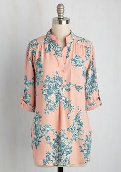 Cook Lively! Top in Sweet Floral. Prepping your dinner party eats in this pastel pink blouse will energize your culinary creativity! #pink #modcloth